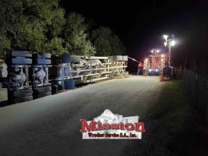 Night lights during heavy duty towing for sand in oil and gas
