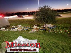 Watermelons strewn beside I-37 before Heavy Towing