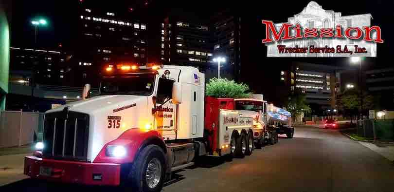 San Antonio Towing Service being pulled by Heavy Wrecker in March